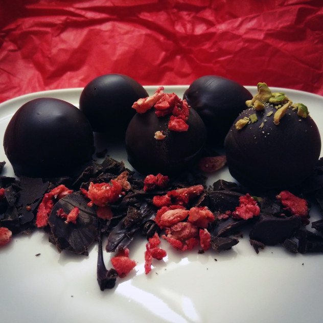 Get messy! with Rum-filled Dark Chocolate Pralines